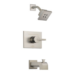 Delta - Vero Monitor 14 Series Tub and Shower Trim - Delta T14453-SSH2O Vero Monitor 14 Series Tub and Shower Trim with H2Okinetic Technology , Single Function Showerhead and Tub Spout in Stainless.
