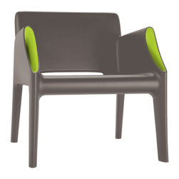 Kartell - Magic Hole Arm Chair, Grey/Green - Kartell's new outdoor products manufactured using the rotational molding technique: the Magic Hole series consists of a two-seater sofa and an armchair with an uncluttered snappy silhouette and slim closed section legs. The straight linear surfaces terminate in well-rounded curves. The austerity of the lines is broken and enhanced by the originality of the stylistic details: a flared white or grey or black ton-sur-ton pocket, or contrasting fluorescent colors of orange or green on the interior hollow curve of the arms. Comfortable, light, shock resistant and weatherproof, the Magic Hole sofa and armchair are perfect for outdoor use, ideal in the garden, on the terrace, the veranda, poolside or for outdoor use in public places.