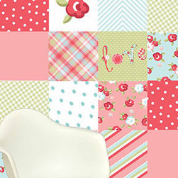 "The Lovely Wall Co - Lulu Girlie Girl- - Removable WallPaper - Wall Paper Tiles - 12""x12"" wall tiles - Lulu Girlie Girl- 12x12 Wall Tiles"