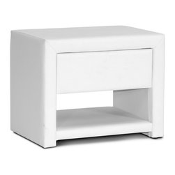 "Baxton Studio - Baxton Studio Massey White Upholstered Modern Nightstand - Hide all your bedtime necessities with style. Ideal for use alongside platform beds designed to rest very close to the floor, the petite Massey Designer Nightstand is made in Malaysia with a sturdy plywood and hardwood frame topped with a thin layer of foam padding and white faux leather. Storage features include a single drawer for all your bedtime necessities as well as a single open shelf. The modern bedside table, which comes fully assembled, is also available in black (sold separately). To clean, wipe with a damp cloth. Product dimension: 19.5""W x 13.75""D x 16""H , drawer(1): 13.75""W x 10.75""D x 3.37""H"