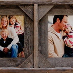 MyBarnwoodFrames - Collage Frames 5x7 With 4 Openings, Barnwood with Cornerblocks - Collage  frames  make  easy  work  of  cataloging  your  vacation  memories.  Take  several  of  your  most  memorable  photos  and  group  them  together  in  a  single  frame.                  There  are  dozens  of  possibilities  for  creating  custom  gifts  from  rustic  barnwood  frames:  Create  a  unique  wedding  gift  by  including  portraits  of  the  bride  and  groom  as  children,  and  as  adults.  Frame  a  four-generation  collage  of  baby,  mom,  grandma  and  great-grandma  as  a  gift  for  the  new  mother.  Make  a  unique  bathroom  wall  hanging  by  printing  out  stock  photos  of  some  colorful  flowers  or  seashells.  Best  of  all,  this  unique  gift  is  affordable.  Our  collage  frames  include  standard  4x6,  5x7,  and  8x10  openings.  Click  here  to  view  them  all.            Product  Details:                  Each  collage  frame  accommodates  four  separate  5x7  photographs.              Glass,  hardware  and  backing  are  included              Frame  can  be  hung  horizontally  (for  portrait-oriented  photos)  or  vertically  (for  landscape-oriented  photos)              Made  in  USA.  Natural  reclaimed  barnwood              Outside  frame  dimensions:  33  wide  x  11  high  x  1.5  deep              Often  our  readers  suggest  ideas  for  using  collage  frames.  Here  are  some  of  our  favorites:                  Remove  the  glass  and  frame  a  Christmas  card  in  one  side  and  a  beautiful  matching  ornament  in  the  other.              Dry  four  different bunches  of  herbs,  tie  a  small  ribbon  around  each,  and  display  your  dried  herb  garden  as  the  centerpiece  of  your  country  kitchen.              Catalog  your  courtship  by  including  ticket  stubs  from  your  first  date,  a  photo  of  the  two  of  you  at  the  Senior  Prom,  an  engagement  photo,  and  a  snapshot  from  your  25th  wedding  anniversary.