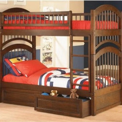Windsor Twin over Twin Bunk Bed - About the Windsor Twin over Twin Bunk Bed The Windsor Twin over Twin Bunk Bed is ideal for any childs bedroom. Made from solid hardwood and finished in Antique Walnut Natural Maple Caramel or White it will fit in well with any decor. It is ideal for girls or boys and the Double Arch Design is sure to stand the test of time. About Atlantic FurnitureFounded in 1983 as Watercraft Inc. Atlantic Furniture started as a manufacturer of pine waterbed frames. Since then the Springfield Mass.-based company has expanded to Fontana Calif. The company has moved away from the use of pine and now specializes in imported furniture made of the wood of rubber trees. The Benefits of Eco-Friendly RubberwoodPrized as an environmentally friendly wood rubberwood makes use of trees that have been cut down at the end of their latex-producing life cycle. The trees are removed by hand and replaced with new seedlings. In the past felled rubber trees were either burned on the spot or used as fuel for locomotive engines brick firing or latex curing. Now the wood is used in the manufacture of high-end furniture. It is valued for its dense grain stability attractive color and acceptance of different finishes. Atlantic's Unique Five-Step Finishing ProcessEach product in the entire line is finished with a high-build five-step finishing process. After a thorough sanding a wipe-on sealer is applied followed by a tinted sealer to even the grain and color of the wood. Additional sanding prepares the surface for the first base color coat more sanding and a second base color coat. After a final sanding the finish coat is applied. This process produces a beautiful and durable finish that will last for years.