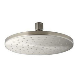 "Kohler - Kohler K-13688-BN Vibrant Brushed Nickel Rainhead 8"" Contemporary - 8"" Contemporary round rain showerhead from the Rainhead Collection The new KOHLER Rainhead collection delivers the most comprehensive offering of rain showerheads available in the market today, providing an affordable and scalable showering solution that coordinates designs and finishes with the rest of the KOHLER faucets and accessories.    Low profile design creates a striking contemporary centerpiece in any custom shower installation  Superior spray performance with Katalyst Spray Technology™ delivers a luxurious and drenching   rain   experience  Optimized sprayface design creates a denser uniform spray pattern for consistent coverage and feeling of warmth  MasterClean™ sprayface with translucent nozzles resists mineral buildup and ensures reliable performance for years to come  2.5 gallons per minute flow rate  Solid brass construction ensures durability and reliability  Comprehensive Finish Offering compliments KOHLER  s complete faucet and accessory program"