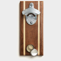 NasonWorks - Bottle Opener with Magnetic Cap Catcher - A beautiful walnut wall  mounted magnetic bottle opener. Made from tough walnut and a high powered rare earth magnet, this bottle opener catches and holds dozens of caps. Great present for a college student or husband or anyone who frequently pops a top. 2 magnets hold the wood firmly to the fridge. Beautiful maple strips of wood add a great accent to the dark walnut. Please note this catcher will not stick to stainless steel fridges, but will stick to doors or anything metal, even the back of your truck, get creative where you put it! More available at www.nasonworksopeners.com