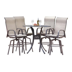 Lakeview Outdoor Designs - Madison Bay 4-Person Sling Patio Bar Set - Casual, simple and relaxed, the Madison Bay collection combines easy going sling with durable aluminum that makes this patio furniture ideal for outdoor entertaining. With four bar stools and a 42-inch bar table, this 5-piece bar set is great around pools or beachside environments because it dries quickly and is easy to clean with soap and water. The bar stools have a heavy duty swivel mechanism so you can smoothly swivel 360 degrees. The heavy-duty, polyester tan sling is PVC coated to resist fading and mildew, and has double stitched seams to hold weight up to 350 pounds. The round bar table features an easy-to-clean cast aluminum top. The bronze, powder-coated and rust-resistant aluminum frame is capped on the bottom with non-marking leveling feet for support and held together with stainless steel hardware for durability. Dimensions (in inches): Bar Table: 42 W X 42 D X 39 H. Bar Stool: 22 1/16 W X 30 D X 53 H. Seat Height: 30 H. Arm Height: 36.