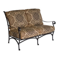 O.W. Lee San Cristobal Wrought Iron Loveseat - Impressive thanks to its intricate detailing, the O.W. Lee San Cristobal Loveseat is a beautiful addition to any porch, deck, or patio. This loveseat is made from handcrafted wrought iron and embodies the romance of Spanish Baroque. Perfect for sitting down with a friend and enjoying a cup of tea, or a glass of cold lemonade, this loveseat is both lovely and comfortable. It comes with your choice of Sunbrella cushions so you can complement your existing decor. Sunbrella cushions are fade-, stain-, mildew-, and water-resistant, durable, easy to clean with mild soap and water, and includes a five year fade warranty. A great way to add extra seating to your outdoor area, you'll love the grace and beauty of this loveseat.Materials and construction:Only the highest quality materials are used in the production of O.W. Lee Company's furniture. Carbon steel, galvanized steel, and 6061 alloy aluminum is meticulously chosen for superior strength as well as rust and corrosion resistance. All materials are individually measured and precision cut to ensure a smooth, and accurate fit. Steel and aluminum pieces are bent into perfect shapes, then hand-forged with a hammer and anvil, a process unchanged since blacksmiths in the middle ages.For the optimum strength of each piece, a full-circumference weld is applied wherever metal components intersect. This type of weld works to eliminate the possibility of moisture making its way into tube interiors or in a crevasse. The full-circumference weld guards against rust and corrosion. Finally, all welds are ground and sanded to create a seamless transition from one component to another.Each frame is blasted with tiny steel particles to remove dirt and oil from the manufacturing process, which is then followed by a 5-step wash and chemical treatment, resulting in the best possible surface for the final finish. A hand-applied zinc-rich epoxy primer is used to create a protective undercoat against oxidation. This prohibits rust from spreading and helps protect the final finish. Finally, a durable polyurethane top coating is hand-applied, and oven-cured to ensure a long lasting finish.About SunbrellaSunbrella has been the leader in performance fabrics for over 45 years. Impeccable quality, sophisticated styling and best-in-class warranties prove the new generation of Sunbrella offers more possibilities than ever. Sunbrella fabrics are breathable and water-repellant. If kept dry, they will not support the growth of mildew as natural fibers will. Beautiful and durable, Sunbrella is a name you can trust in your outdoor furniture.Cleaning and Caring for SunbrellaRegular maintenance is the best way to keep your Sunbrella fabrics looking good and delay deep, vigorous cleaning. Brush off dirt before it becomes embedded in the fabrics, and wipe up spills as soon as they occur. For light cleaning, use a mild soap and water solution and a sponge, allowing your cleaning solution to soak into the fabric. Rinse thoroughly to remove all soap residue and allow fabric to air dry.About O.W. Lee CompanyAn American family tradition, O.W. Lee Company has been dedicated to the design and production of fine, handcrafted casual furniture for over 60 years. From their manufacturing facility in Ontario, California, the O.W. Lee artisans combine centuries-old techniques with state-of-the-art equipment to produce beautiful casual furniture. What started in 1947 as a wrought-iron gate manufacturer for the luxurious estates of Southern California has evolved, three generations later, into a well-known and reputable manufacturer in the ever-growing casual furniture industry.