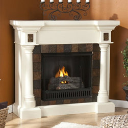 Holly & Martin - Carrington Convertible Gel Fireplace - Includes metal firebox, cement log, faux coal cinder and screen kit. Fuel not included. Ventless. Faux slate front. Rounded columns on either side of firebox are topped off with square tiles. Beautiful media room accent. Holds upto three cans of gel fuel simultaneously for full bodied 6 - 8 in. flame. Each can of FireGlo produces upto 3000 BTUs. Metal firebox withstands more than 9000 BTUs to safely handle gel fuel. Emits no smoke, odor and ash. Supplements heat to save on energy consumption. FireGlo gel fuel snaps and crackles like real wood. Mantel supports upto 85 lbs.. Accommodates upto 47 in. flat screen TV. Made from poplar wood, MDF and resin. Assembly required. Flat wall: 44.5 in. W x 16.75 in. D x 40.25 in. H (127 lbs.). Corner: 44.5 in. W x 27.75 in. D x 40.25 in. H (127 lbs.)None of the mess of a wood burning fireplace. Beautifully rustic, this antique ivory fireplace exudes character and style. This versatile fireplace is complete with a collapsible panel, making it easy to place against a flat wall or in a corner. Requiring no electrician or contractor for installation allows instant remodeling without the usual mess or expense. In addition to your living room or bedroom, try moving this fireplace to your dining room for romantic dinners or complement your media room with a ventless fireplace below your flat screen television. Use this great functional fireplace to make your home a more welcoming environment.