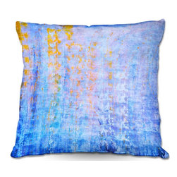 DiaNoche Designs - Pillow Woven Poplin from DiaNoche Designs by Iris Lehnhardt - Blues - Toss this decorative pillow on any bed, sofa or chair, and add personality to your chic and stylish decor. Lay your head against your new art and relax! Made of woven Poly-Poplin.  Includes a cushy supportive pillow insert, zipped inside. Dye Sublimation printing adheres the ink to the material for long life and durability. Double Sided Print, Machine Washable, Product may vary slightly from image.