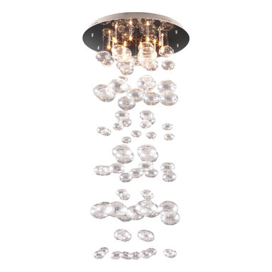 Zuo - Inertia Glass Ceiling Light Fixture - The Inertia Glass ceiling light fixture is reminiscent of a wind-chime and is sure to add a whimsical touch to your space. The light puts out a soft glow as it passes through the dangling glass spheres.  The Inertia ceiling light goes great in the entryway with tall ceilings or can even can be used as bedside lighting to heighten the space.  This light fixture could be clustered for a grander look in a larger space.  Regardless of where the fixture is hung, it will add a touch of whimsy to the room and create an inviting atmosphere.