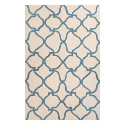 Jaipur Rugs - Hand-Tufted Moroccan Pattern Polyester Blue/Ivory Area Rug ( 2x3 ) - A youthful spirit enlivens Esprit, a collection of contemporary rugs with joie de vivre! Punctuated by bold color and large-scale designs, this playful range packs a powerful design punch at a reasonable price.