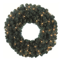 """Seasonal Source - 60"""" Pre-Lit Oregon Fir Wreath, 200 Clear Lights - Our 60"""" diameter commercial quality holiday wreath is full and luxurious.  Each wreath is pre-decorated with 200 Incandescent Mini-Lights."""