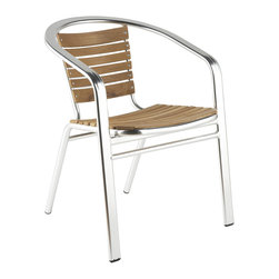 Euro Style - Shirley Side Chair (Set Of 6) - This is the kind of stylish chair that never goes out of style.  Solid teak seat and back on an all aluminum frame makes this heavyweight design light and easy to use.  Looks as good in cafe's as it does in modern eateries.  Menu please!