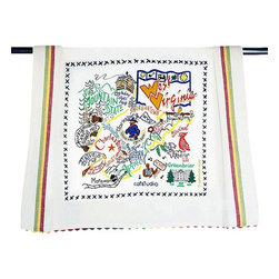 CATSTUDIO - West Virginia State Dish Towel by Catstudio - This original design celebrates the state of West Virginia.  This design is silk screened, then framed with a hand embroidered border on a 100% cotton dish towel/ hand towel/ guest towel/ bar towel. Three stripes down both sides and hand dyed rick-rack at the top and bottom add a charming vintage touch. Delightfully presented in a reusable organdy pouch. Machine wash and dry.