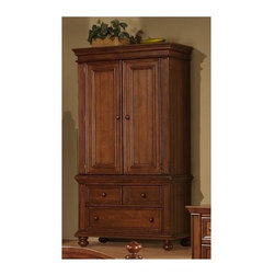 Winners Only - Cape Cod Armoire in Chocolate Finish - Two drawers. One adjustable shelf. 40 in. W x 22 in. D x 76 in. H (221 lbs.)