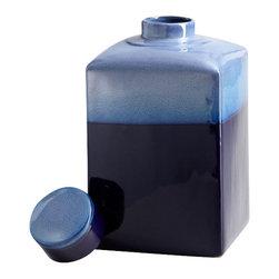 Cyan Design - Cobalt Drip Container - Small - Small cobalt drip container - blue glaze