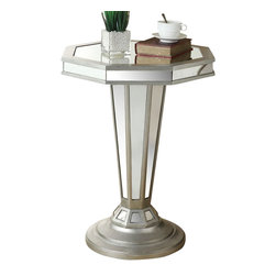 Monarch Specialties - Monarch Specialties 3704 Mirrored Octagon Pedestal Accent Table - Bring vibrancy into your living room with this mirrored accent table. Its intricate octagonal shape and delicate details are sure to catch anyone's eye. Its sturdy pedestal base provides full support, allowing you to place picture frames, vases and decorative pieces on its smooth mirrored surface. Don't wait to add this must-have table to your home!