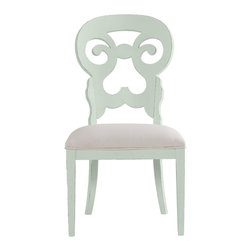 Stanley Furniture - Coastal Living Cottage Wayfarer Side Chair - Morning Sky Finish - Like the old bistro chairs outside the coastal candy shoppe, these cut-back chairs bring an easy smile to any table. Upside down heart motif gives a kiss to your lower back, while the open top section is perfectly sized to fit your palm. Made to order in America.