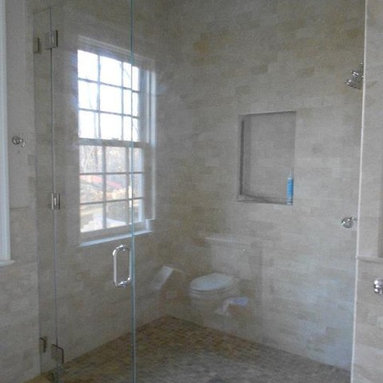 """Frameless Shower Enclosure - fully frameless shower enclosure with curbless design.  glass is 1/2"""" starphire low iron.  Hardware chrome."""