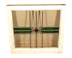 Antiques - Antique English Lead Glazed Stained Glass Window - This is a beautiful antique English lead glazed stained glass window. It has a traditional wooden frame and it features a beautiful *astragal lead glazed textured stained glass window with a distinguished design.  It may show minor age appropriate signs of wear including wood imperfectionsbut as shown it is overall in very good cosmetic and structural condition. *