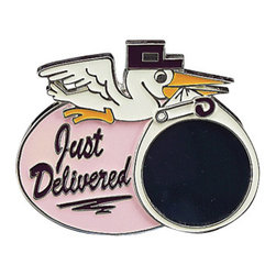 """Godinger Silver - Pink Delivery Picture Frame - The latest was just delivered! Display the first picture of your baby still in his angelic state and she's sure to treasure it a lifetime. This silver plated frame can make a great gift for practically anyone! Surprise the mom and bring it along to your next baby shower! Frame measures approx: 6.5"""" x 5.5"""" and holds 1 3 x 3 photo."""