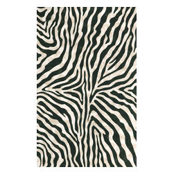 Trans-Ocean - Zebra Black Rugs 3043/48 - 8'X10' - The highly detailed painterly effect is achieved by Liora Mannes patented Lamontage process which combines hand crafted art with cutting edge technology.These rugs are Hand Made of 100% Polyester fibers that are intricately blended together using Liora Manne's patented Lamontage process. They are then finished using modern needle punching and latexing processes that create a work of art that is practicalThe flat simple nature of these Lamontage rugs is an ideal base with which to create a rug that is at the same time a work of art. Perfect for any Indoor or Outdoor space, they are antimicrobial, UV stabilized, and easy care.