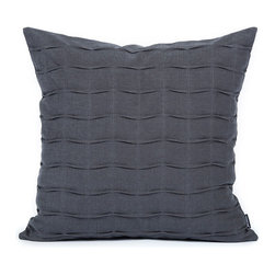 LaCozi - Charcoal Gray Handcrafted Pintuck Pillow - Ripple effect. Delicate waves of pintucking turn the textural interest of your room up a notch. And because these pillows are crafted of comfortable, heavyweight cotton, that soft, touchy-feely sensation will be felt for many years to come.