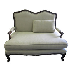 Upholstery Projects - Vintage Settee Upholstered in linen.