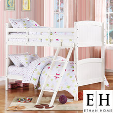 ETHAN HOME Armidale White Beadboard Twin Bunk Bed   Overstock.com