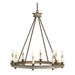 Currey and Company - Currey and Company Bonfire Chandelier - A simple shape and natural materials make this the perfect chandelier for a room that demands simple yet unique style. The octagonal ring constructed of carved wood with a washed wood finish combined with wrought iron in an Antique Rust finish gives it a clean, casual modern lodge design.