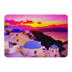 """KESS InHouse - Oriana Cordero """"My Konos"""" Pink Sunset Memory Foam Bath Mat (17"""" x 24"""") - These super absorbent bath mats will add comfort and style to your bathroom. These memory foam mats will feel like you are in a spa every time you step out of the shower. Available in two sizes, 17"""" x 24"""" and 24"""" x 36"""", with a .5"""" thickness and non skid backing, these will fit every style of bathroom. Add comfort like never before in front of your vanity, sink, bathtub, shower or even laundry room. Machine wash cold, gentle cycle, tumble dry low or lay flat to dry. Printed on single side."""