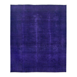 """ALRUG - Handmade Indigo Persian Antique Overdyed Rug 9' 11"""" x 11' 11"""" (ft) - This Persian Overdyed design rug is hand-knotted with Wool on Cotton."""