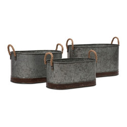 Camay Galvanized Tin Oval Tubs - Set of 3 Rope Handles - *These vintage inspired iron tubs are a great addition in a casual setting. Use them every day to hold magazines, dog toys, throw pillows or decorative filler, or use them to serve snacks and beverages at parties!