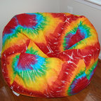 "Bean Bags for Boys - Ahh! Products Tie Dye printed cotton bean bag chair in rainbow colorway. Remove and wash cover, water-repel liner. 37"" large size. 10 year warranty, Made in USA."