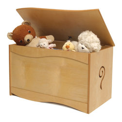 Natural Toy Box - A large quality toy chest that will be treasured as much as the treasures it holds.  A cut-out swirl accents this toy chest, made of birch veneers and finished in colorful stains. Wave shaped lid is solid birch wood. Safety hinges and finger space under lid ensure that little fingers won't get hurt.