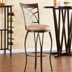 """Wildon Home � - Larsen Swivel Stool - Complement your home with contemporary convenience. The intersected arcs and curved legs of this stool create a smart and refined look. A powder-coated, dark champagne finish and durable steel frame deliver lasting quality. It features height seating, a cozy foam seat covered in plush mocha microfiber, and a backrest accent in a rich walnut finish bentwood. A full 360 degree swivel and footrest ring provide comfort and ease. The curvaceous form and attractive finish coordinate with traditional to contemporary décor styles. Ideal for the kitchen, breakfast nook, bar, or dining area. The handcrafted touch of artisan skill also creates variations in color and design; slight differences should be expected. Features: -Champagne brown finish frame with rich walnut finish bentwood backrest and lush mocha seat cushion. -Constructed of powder-coated steel, bentwood, polyester microfiber, particle board, and polyurethane. -Sturdy steel frame with plush microfiber seat and fire-retardant foam cushion. -Smooth 360 degree swivel. -Convenient footrest ring for ultimate comfort. -Curved backrest for optimum support. Dimensions: -Backrest: 16.75"""" H x 15.5"""" W. -Cushions thickness: 3"""". -25-in. Seat: 25"""" H x 15"""" Dia.. -25-in. Footrest height: 6"""". -30-in. Seat: 30"""" H x 15"""" Dia.. -30-in. Footrest height: 10.5"""". -25-in. Overall: 39.25"""" H x 16"""" W x 18.75"""" D, 20 lbs. -30-in. Overall: 44.25"""" H x 15.25"""" W x 18.75"""" D, 20 lbs . -Max weight capacity: 250 lbs."""