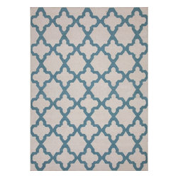 Jaipur Rugs - Jaipur Rugs Flat-Weave Moroccan Pattern Wool Ivory/Blue Area Rug, 2 x 3ft - An array of simple flat weave designs in 100% wool - from simple modern geometrics to stripes and Ikats. Colors look modern and fresh and very contemporary.
