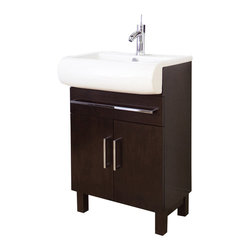 American Imaginations - 24-in. W x 18-in. D Transitional Birch Wood-Veneer Vanity Set - This transitional vanity set belongs to the exquisite Metro design series. It features a rectangle shape. This vanity set is designed to be installed as an floor mount vanity set. It is constructed with birch wood-veneer. It is designed for a single hole faucet. This vanity set comes with a lacquer-stain finish in Walnut color. Features a large cabinet with two soft-close cabinet doors with European style hinges. Matching contemporary cabinet handles in chrome finish also included. This Vanity Set features Chrome hardware. Bull-nose front rectangular white ceramic top, predrilled to accommodate your single hole faucets. Faucet and accessories not included.