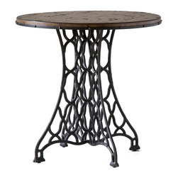None - Jane Rae Wood and Metal End Table - Metal meets wood in symphony in this eclectic,industrial influenced group.  An antique brown finish accentuates a rustic wood top supported by a metal base.
