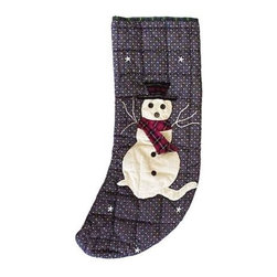 Patch Magic - Snowman Stocking - 8 in. W x 21 in. L. 100% Cotton. Machine washable.. Line or flat dry onlyGorgeous and unique hand quilted Christmas stocking.