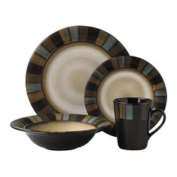 Pfaltzgraff - Pfaltzgraff Cayman 16-piece Dinnerware Set - A vibrant pattern plays across this Pfaltzgraff Everyday stoneware dinner set. Lifetime brings a 16-piece set of dishwasher-safe dinnerware with the 'Cayman' pattern to your dining decor.