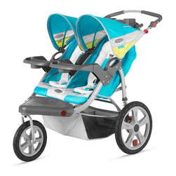 InSTEP - InStep Grand Safari Swivel Wheel Double Jogging Stroller - Teal Multicolor - 11- - Shop for Jogging Strollers from Hayneedle.com! Listen to your favorite music while you're out and about with the InStep Grand Safari Swivel Wheel Double Jogging Stroller - Teal. This strong and durable stroller is designed for two children up to 40 pounds each. Your children will rest comfortably in the stroller which has soft machine washable fleece lining. Featuring an adjustable handlebar this stroller has two 16-inch rear pneumatic tires and a 12-inch front pneumatic tire along with exposed spring shock absorbers for a comfortable ride for you and your children. A secure five-point harness system buckle system keeps your safely in the stroller while the canopy featuring mounted speakers which are compatible with most MP3 players protects your children from the sun. The front wheel locks manually so you can easily switch from a swivel to a locked front wheel for running. A large basket underneath provides plenty of storage for a diaper bag. purse gear and more. Additional Features Molded flip-open tray with 2 cup holders 16-inch rear pneumatic tires with molded rims 12-inch front pneumatic tire with molded rim Secure 5-point harness and buckle system Canopy protects your child from the sun Canopy mounted speakers accept most MP3 players Manual locking front wheel Easily switch from swivel to fixed wheel Exposed spring shock absorbers for a smooth ride Folds quickly and easily Large basket provides plenty of storage space About InSTEPNow you can spend more time with your little one get in the workout you need and show your children how much fun a healthy lifestyle can be - and without the sticker shock. InSTEP prides itself on providing joggers and trailers that not only measure up to your expectations of comfort performance and convenience but also appease your budget with outstanding value prices. InSTEP products have more features more function tasteful style and sharp c