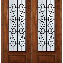 "Prehung Double Door 96 Wood Alder St. Charles 3/4 Lite Wrought Iron - SKU#E18662WS-G-WE834SC2SCBrandGlassCraftDoor TypeExteriorManufacturer Collection3/4 Lite Entry DoorsDoor ModelSt. CharlesDoor MaterialWoodWoodgrainKnotty AlderVeneerPrice4945Door Size Options  +$percentCore TypeDoor StyleDoor Lite Style3/4 LiteDoor Panel Style1 PanelHome Style MatchingDoor ConstructionEstanciaPrehanging OptionsPrehungPrehung ConfigurationDouble DoorDoor Thickness (Inches)1.75Glass Thickness (Inches)Glass TypeDouble GlazedGlass CamingGlass FeaturesLow-E , TemperedGlass StyleGlass TextureWater , Flemish , Baroque , Fluted , Rain , Glue Chip , ClearGlass ObscurityLight Obscurity , Moderate Obscurity , Highest Obscurity , No ObscurityDoor FeaturesDoor ApprovalsWind-load Rated , SFI , TCEQ , AMD , NFRC-IG , IRC , NFRC-Safety GlassDoor FinishesDoor AccessoriesWeight (lbs)719Crating Size25"" (w)x 108"" (l)x 52"" (h)Lead TimeSlab Doors: 7 Business DaysPrehung:14 Business DaysPrefinished, PreHung:21 Business DaysWarrantyOne (1) year limited warranty for all unfinished wood doorsOne (1) year limited warranty for all factory?finished wood doors"