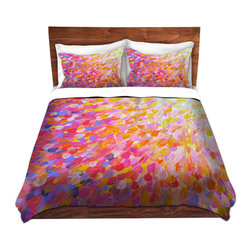 DiaNoche Designs - Duvet Cover Microfiber by Julia Di Sano - Splash Out Pink - Super lightweight and extremely soft Premium Microfiber Duvet Cover in sizes Twin, Queen, King.  This duvet is designed to wash upon arrival for maximum softness.   Each duvet starts by looming the fabric and cutting to the size ordered.  The Image is printed and your Duvet Cover is meticulously sewn together with ties in each corner and a hidden zip closure.  All in the USA!!  Poly top with a Cotton Poly underside.  Dye Sublimation printing permanently adheres the ink to the material for long life and durability. Printed top, cream colored bottom, Machine Washable, Product may vary slightly from image.