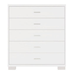 Manhattan Comfort - Astor Dresser, White Gloss - A great piece of furniture that will enhance any space, the Astor Dresser is compact and smooth, with 5 roomy drawers. Choose from 5 beautiful colors to match your bedroom decor. The unique paint is protected by the Microban Antibacterial Protection.