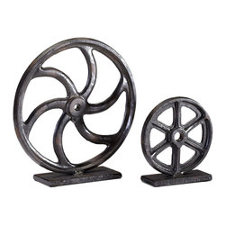 Kathy Kuo Home - Small Industrial Loft Iron Mechanics Wheel Sculpture - Get the wheels turning with this bold industrial sculpture.  Perfect for lofts, farmhouses and even city apartments.