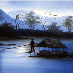 Oriental-Decor - Lazy River Oriental Painting - The Far East is home to some of the most beautiful scenery in the world. Here a fisherman is paddling his boat through a lazy river as dawn nears. This picturesque work of art is ideal for creating a calming and relaxing mood in any room.