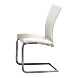 Steve Silver Furniture - Steve Silver Mira Side Chair in White Faux Leather [Set of 2] - Side Chair in White Faux Leather belongs to Mira Collection by Steve Silver Contemporary style with a flair for excellence is the Mira side chairs. The ergonomic side chairs feature faux white leather upholstery with baseball stitching, and a stainless steel base.  Side Chair (2)