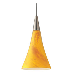 Progress Lighting - P6140-09Y Illuma-Flex One Light Flex Track System Brushed Nickel - 12V low voltage T4 mini-pendant with mottled amber and yellow glass.