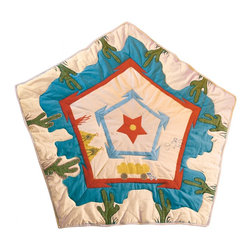 "Wingreen - WinGreen Cowboy Wigwam Floor Quilt - Our Cowboy Wigwam Floor Quilt is appliqued and embroidered with mountains, cacti and a wagon. This lightly padded Floor Quilt is designed to fit the base of WinGreen Cowboy Wigwam. It also makes a great rug or playmat! Machine washable. Size: 57.48"" x 57.48"" (approximately)"