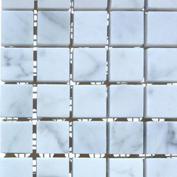 All Marble Tiles - Bianco Carrara 1x1 Honed Marble Square Mosaic Tile - Finish: Honed